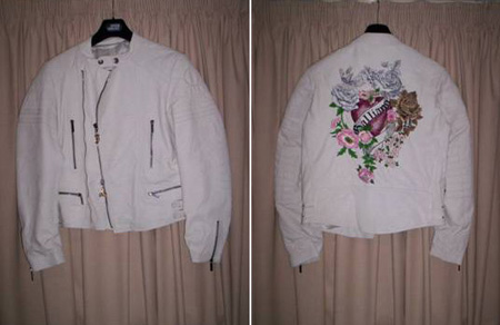 John Galliano Hearts and Roses white leather jacket